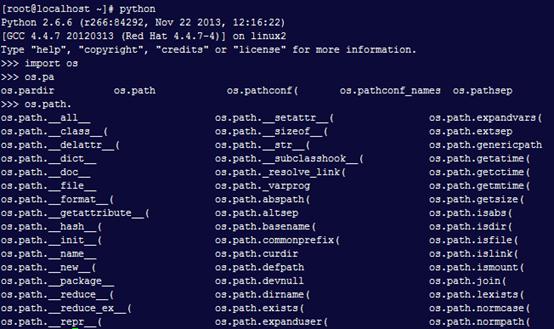 在python交互模式支持tab自动补全